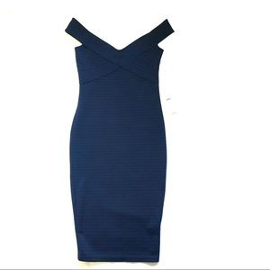 ASOS blue cross front off shoulder bandage dress